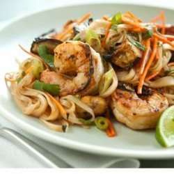 Grilled Shrimp and Eggplant Summer Noodle Bowls recipe