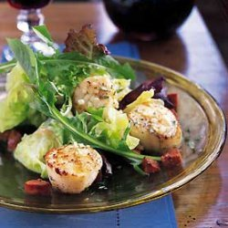 Sauteed Scallops with Andouille and Baby Greens