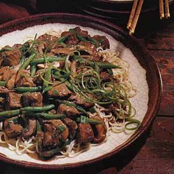 Hoisin-Braised Pork, Mushrooms and Green Beans on Noodles