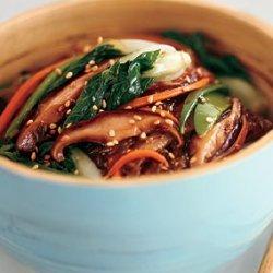Sweet Potato Noodle Stir-Fry with Choy Sum and Shiitake Mushrooms