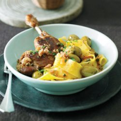 Duck Legs in Green Olive Sauce with Cracklings and Pappardelle
