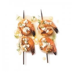 Shrimp Skewers With Dill and Feta Sauce