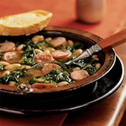 Cannellini Stew with Sausage and Kale and Cheese Toasts recipe
