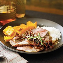 Spicy Beef Cross-Rib Roast with Caramelized Clementine Sauce
