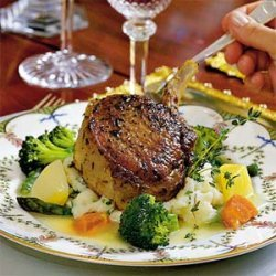 Grilled Pork Chops With Garlic Mashed Potatoes
