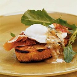 Breakfast Bruschetta with Prosciutto, Poached Eggs, and Warm Mustard Vinaigrette