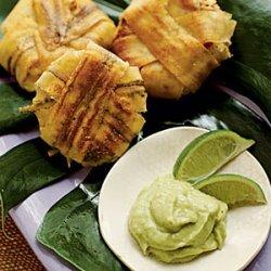 Plantain-wrapped Crab Cakes with Avocado Aioli
