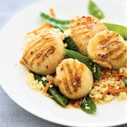 Glazed Scallops With Couscous