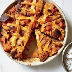 Pumpkin Pie Bread Pudding with Bourbon-Pecan Hard Sauce