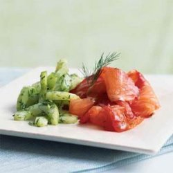 Dill and Beet-Cured Salmon with Cucumber Salad recipe