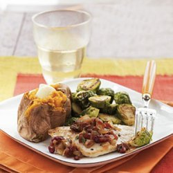Seared Turkey Cutlets with Cranberry—Caramelized Onion Salsa