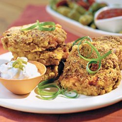 Black-eyed Pea Cornbread Cakes With Jalapeño Sour Cream recipe