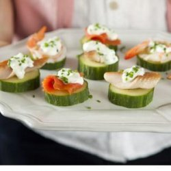 Seafood (salmon, trout, shrimp or crab) Cucumber Stacks with Lemon Cream and Chives