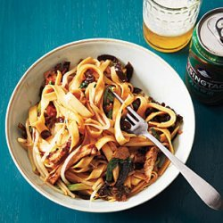 Chinese Wide Noodles with Barbecue Pork and Dried Mushrooms