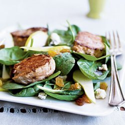 Warm Spinach Salad with Pork and Pears