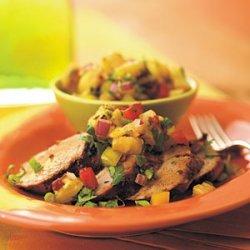 Adobo-Marinated Pork Tenderloin with Grilled-Pineapple Salsa
