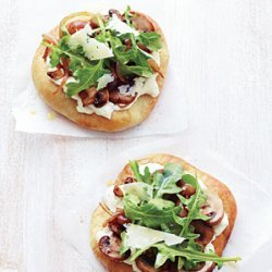 Individual Mushroom, Onion, and Arugula Pizzas