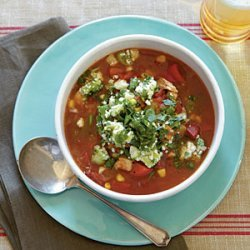Chili-Spiced Chicken Soup with Stoplight Peppers and Avocado Relish