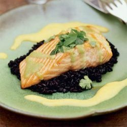 Seared Wasabi-Glazed Salmon with  Forbidden  Rice recipe