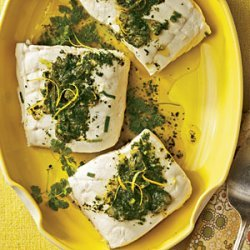 Poached Halibut with Lemon-Herb Sauce recipe