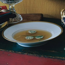 Spiced Chicken Broth with Chive Flans