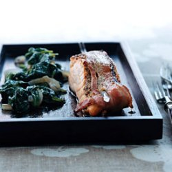 Bacon-Wrapped Salmon with Wilted Spinach recipe