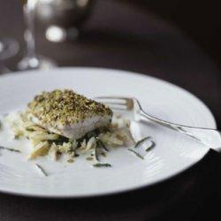 Pistachio Sea Bass with Crab Salad