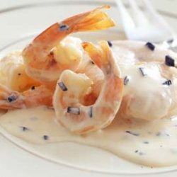 Poached Salmon with Truffles and Shrimp in Cream Sauce recipe