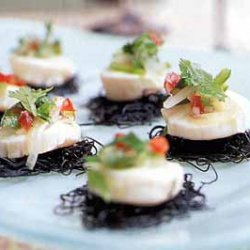 Scallop Ceviche on Black Pasta Cakes with Cilantro Salsa recipe