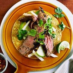 Achiote Flank Steak with Apple and Jicama Slaw recipe