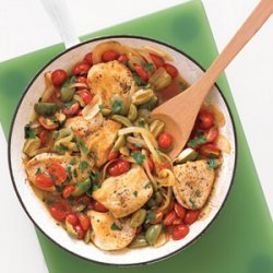 Golden Chicken with Tomatoes and Olives recipe