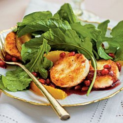 Crispy Goat Cheese-Topped Arugula Salad with Pomegranate Vinaigrette recipe