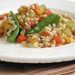 Barley Pilaf with Roasted Peppers and Snow Peas
