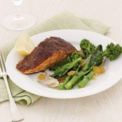 Blackened Salmon with Broccoli Rabe and Raisins recipe