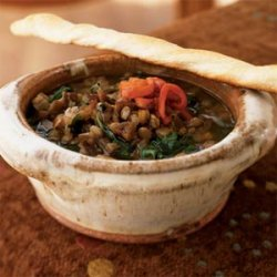 Lentil and Spinach Soup with Roasted Red Pepper and Pomegranate Molasses
