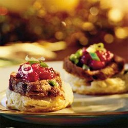 Pork Tenderloin on Cornmeal Biscuits recipe