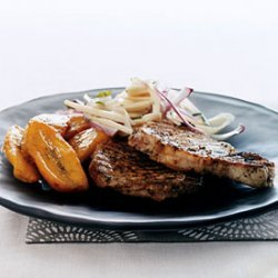 Jerk Pork Chops with Hearts of Palm Salad and Sweet Plantains recipe