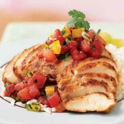 Sesame-Chile Chicken with Gingered Watermelon Salsa