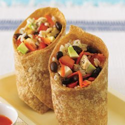 Black Bean, Avocado, Brown Rice and Chicken Wrap