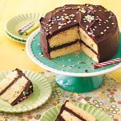 Yellow Cake with Fudge Frosting