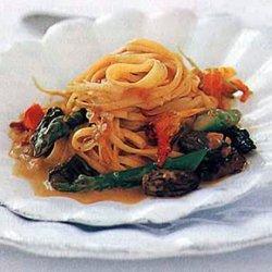 Taglierini with Morels, Asparagus, and Nasturtiums recipe