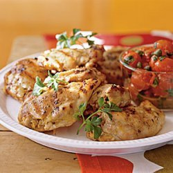 Grilled Chicken Thighs with Roasted Grape Tomatoes recipe