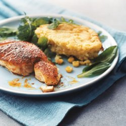 Blackened Striped Bass with Corn Spoon Bread and Greens recipe
