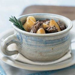 Pot-Roasted Rosemary Lamb with Fingerling Potatoes