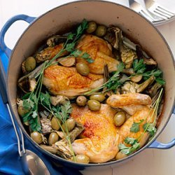 Chicken Halves with Artichokes and Garlic recipe