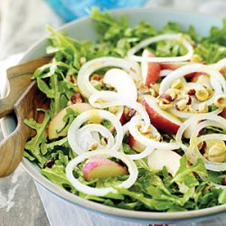 Arugula Salad with White Nectarines and Mango Chutney Dressing recipe