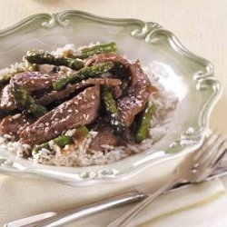 Asparagus Beef Stir-Fry (red wine and teriyaki sauce)
