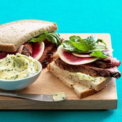 Steak and Watermelon Radish Sandwiches recipe