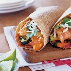 Salmon Burritos with Chile-Roasted Vegetables