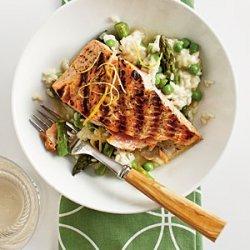 Salmon with Quick Spring Risotto